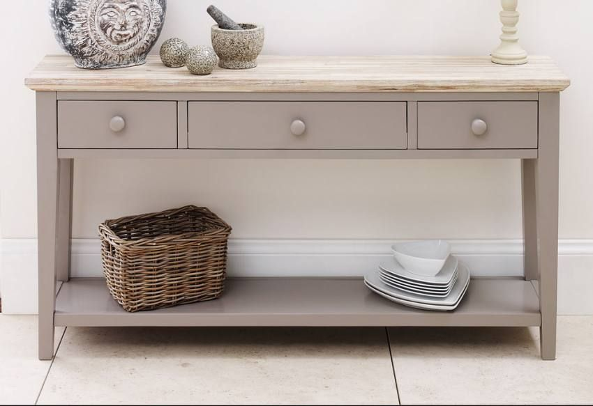 Unfinished Console Table Plus Three Storage Drawers And Slat Bottom Shelf For White Ceramic Dishes Wicker Basket Wooden Top Material Carved Leg