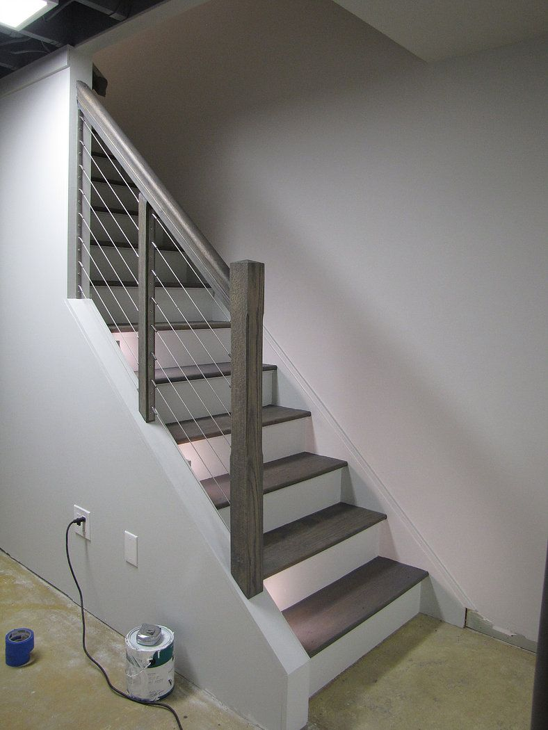 Best Single Post Grey Stained Wood Stairs Gray Stained Wood 400 x 300