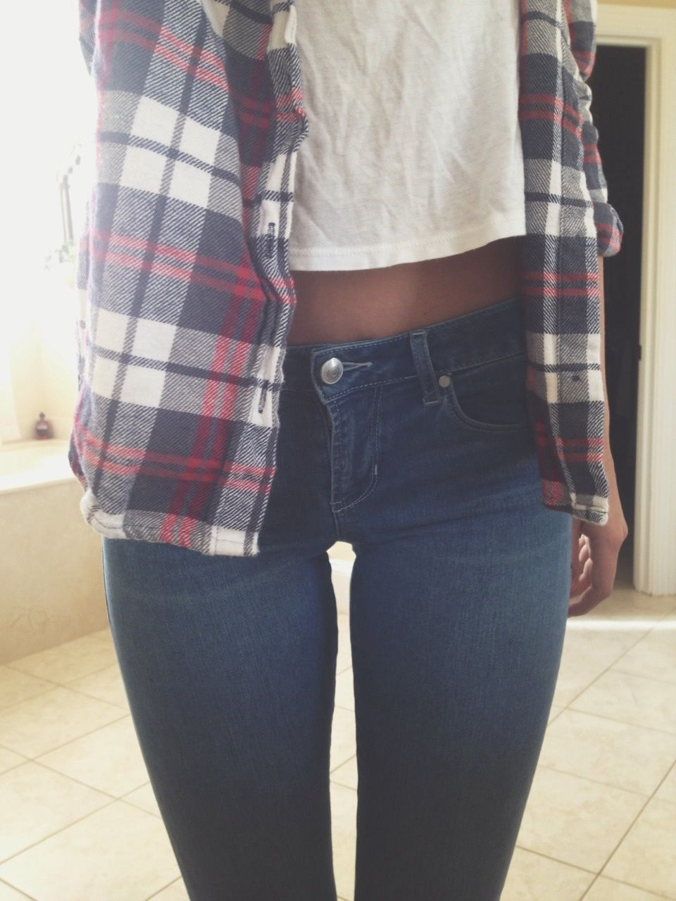 Flannel and denim jacket outfit  Simple longer shirt needed lol   fashion  Pinterest  Flannels