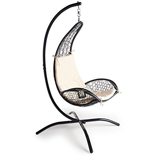 VonHaus Rattan Hanging Chair With Stand U2013 Outdoor Relaxing Egg Swing Chair  With Luxury Cushion And Cup Holder For Patio, Garden Or Lawn