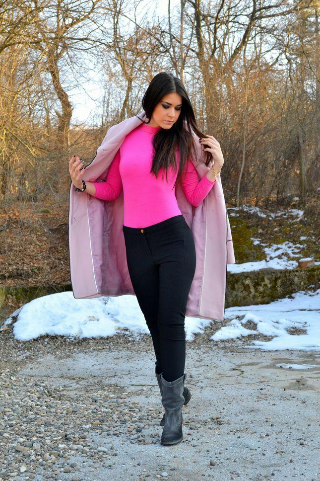 Women\'s Pink Coat, Hot Pink Turtleneck, Black Skinny Jeans, Grey ...