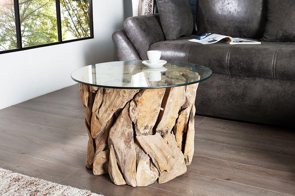 Handgearbeiteter Couchtisch Riverside 60cm Teakholz Runde Glasplatte Riess Ambiente De Design Beistelltisch Couchtisch Treibholz Und Couchtisch Rund