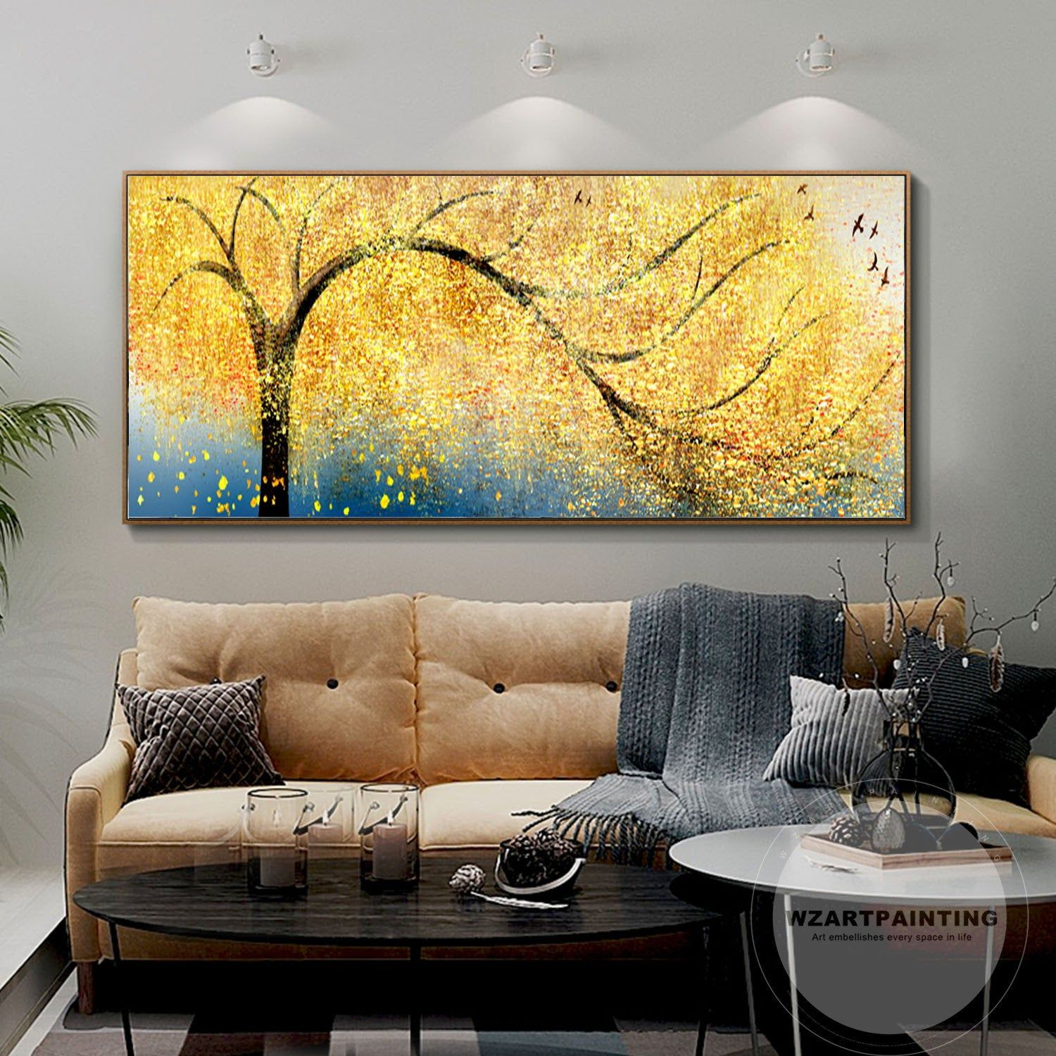 Gold Tree Bird Abstract Landscape Print Acrylic Print On Canvas Art Ready To Hang Framed Painting Wall Art Landscape Prints Wall Art Painting Wall Art Pictures
