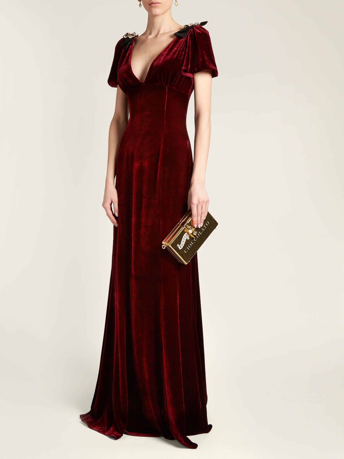 DOLCE & GABBANA Embellished V-neck velvet gown | Haute couture ...