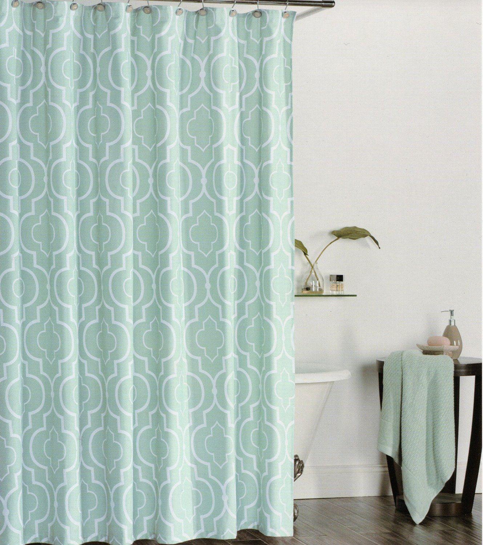Blue moroccan curtains - Amazon Com Max Studio Home 100 Percent Cotton Shower Curtain Moroccan Tile Quatrefoil