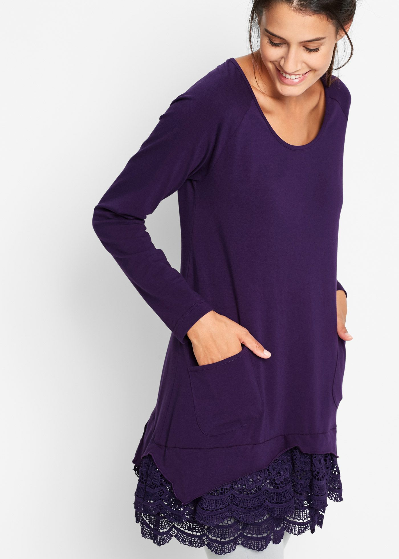 Langärmlige Shirt-Tunika mit Spitze dunkellila jetzt im Online