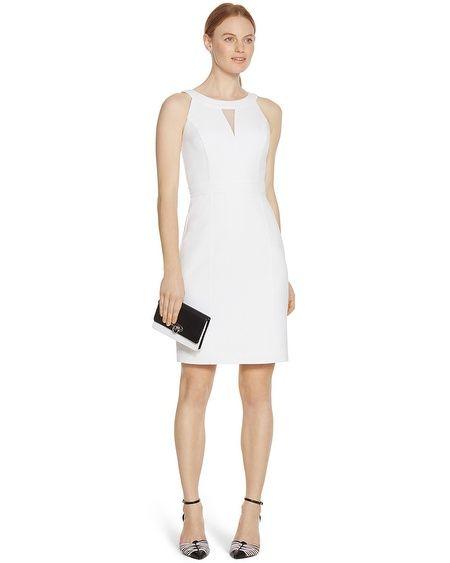 Sleeveless Organza White Sheath Dress in White | White House Black ...