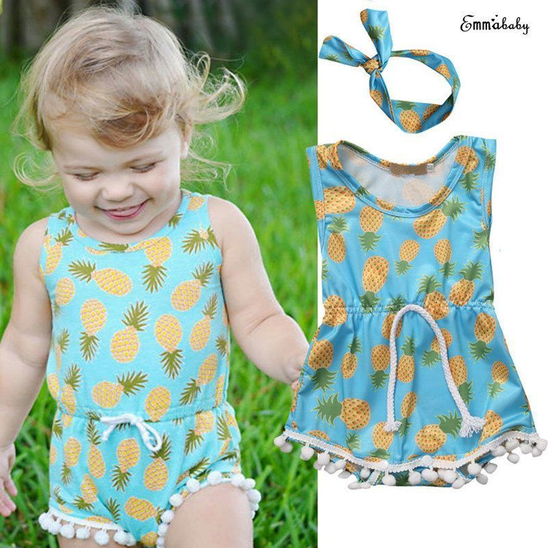 38cc2e819214 Adorable Newborn Baby Girl Clothes Sleeveless Pineapple Printed ...