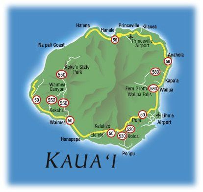 picture relating to Printable Map of Hawaii named map of kauai, hawaii No cost Printable Maps: Map of Kauai