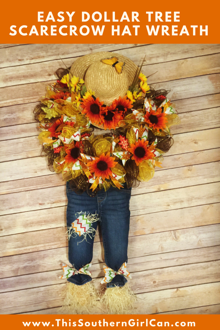 Learn How To Make This Cute Dollar Tree Scarecrow Hat Wreath With