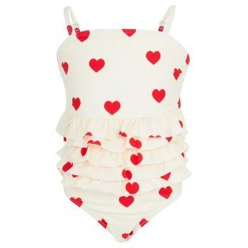 Mini Rodini Girls Cream & Red Heart Print Ruffle Swimsuit | AlexandAlexa