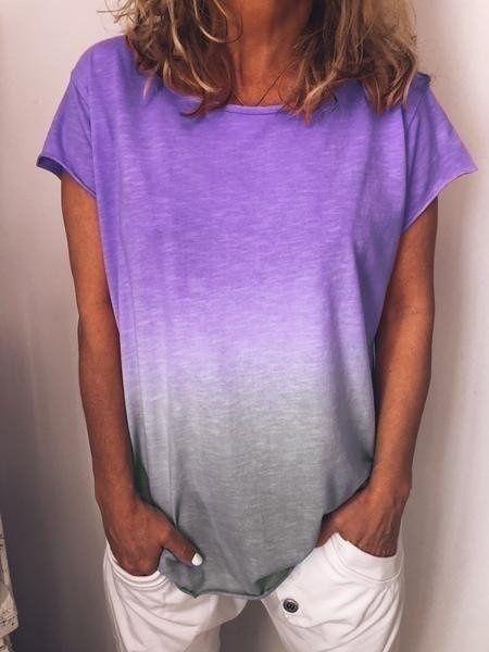 Women/'s Short Sleeve Gradient Tops T-Shirt Ladies Casual Printed Blouse Tee
