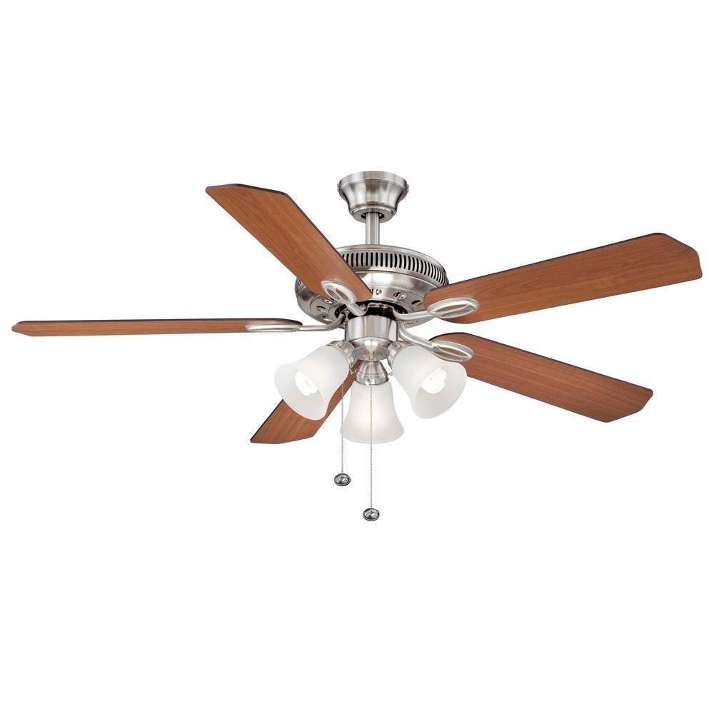 Hampton Bay Glendale 52 in. Brushed Nickel Ceiling Fan | Ceiling fan ...