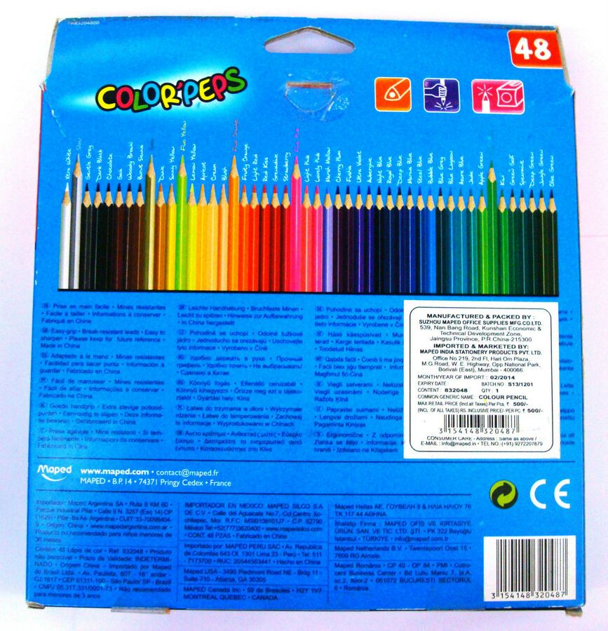 Details About Color Peps Maped Colour Pencils 48 Assorted Shades