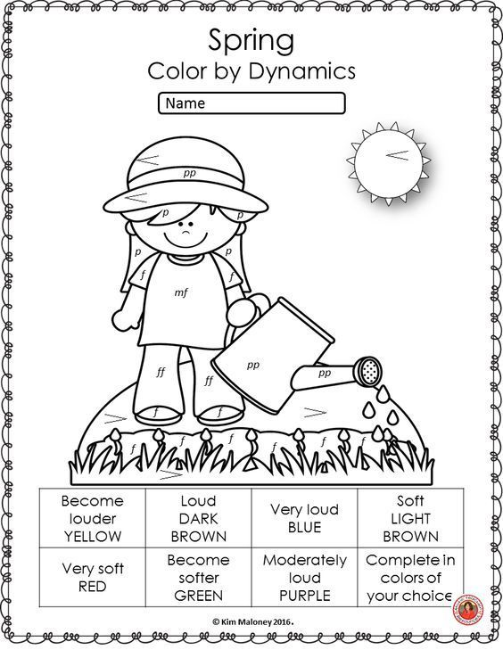 Spring Color By Music Pages 26 Music Coloring Sheets Elementary