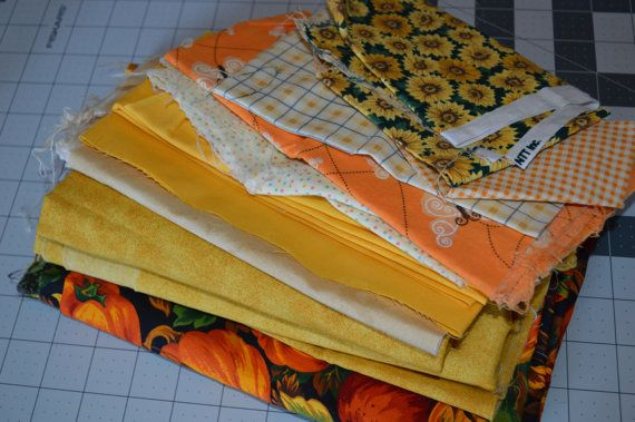 Large lot of Yellow to orange scrap fabric by SpoolandThimble, $13.50