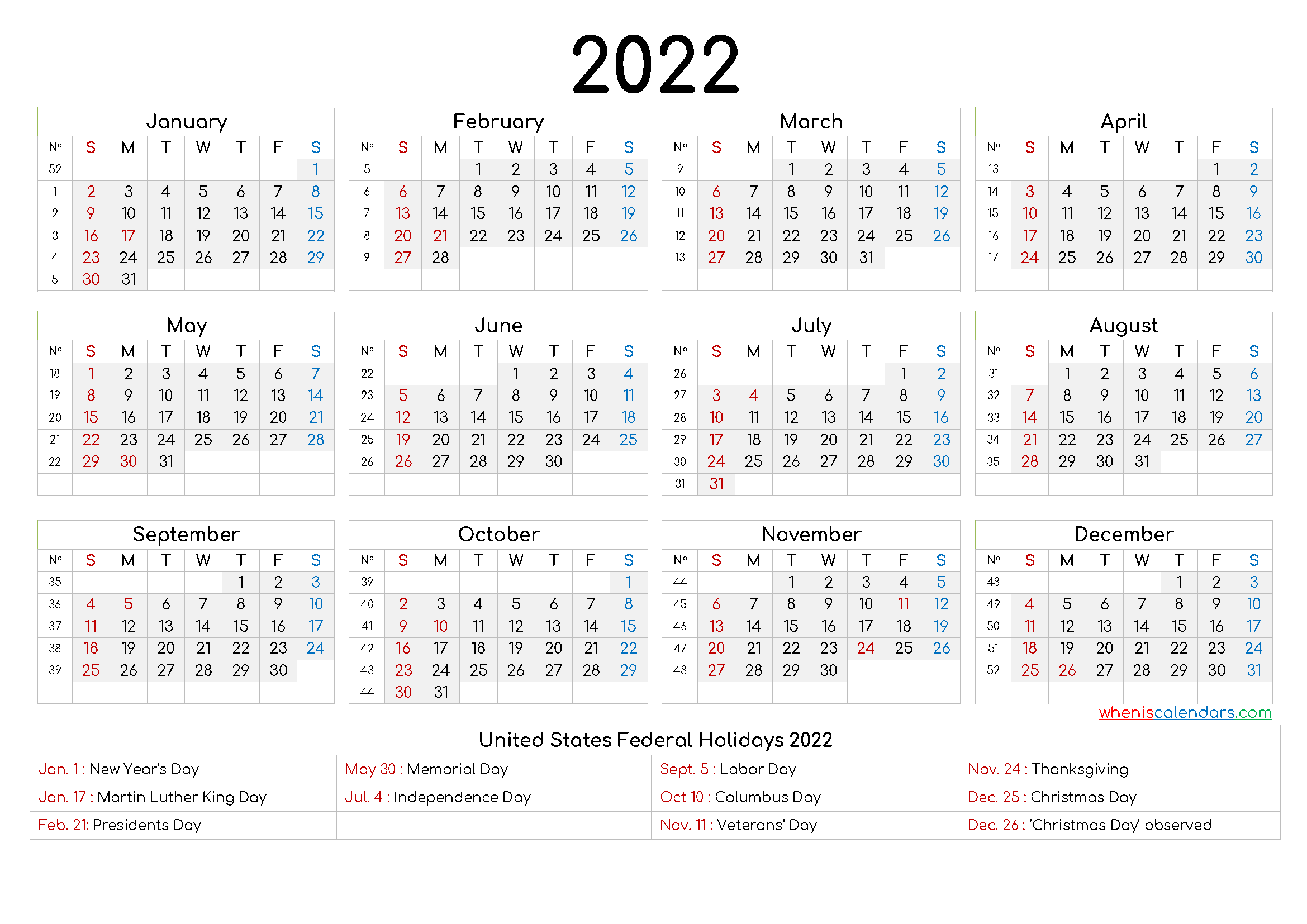 20+ Yearly Calendar 2022 - Free Download Printable ...