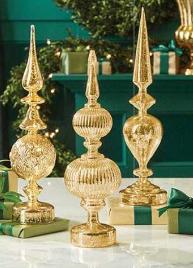 Gold Mercury Glass LED Finials