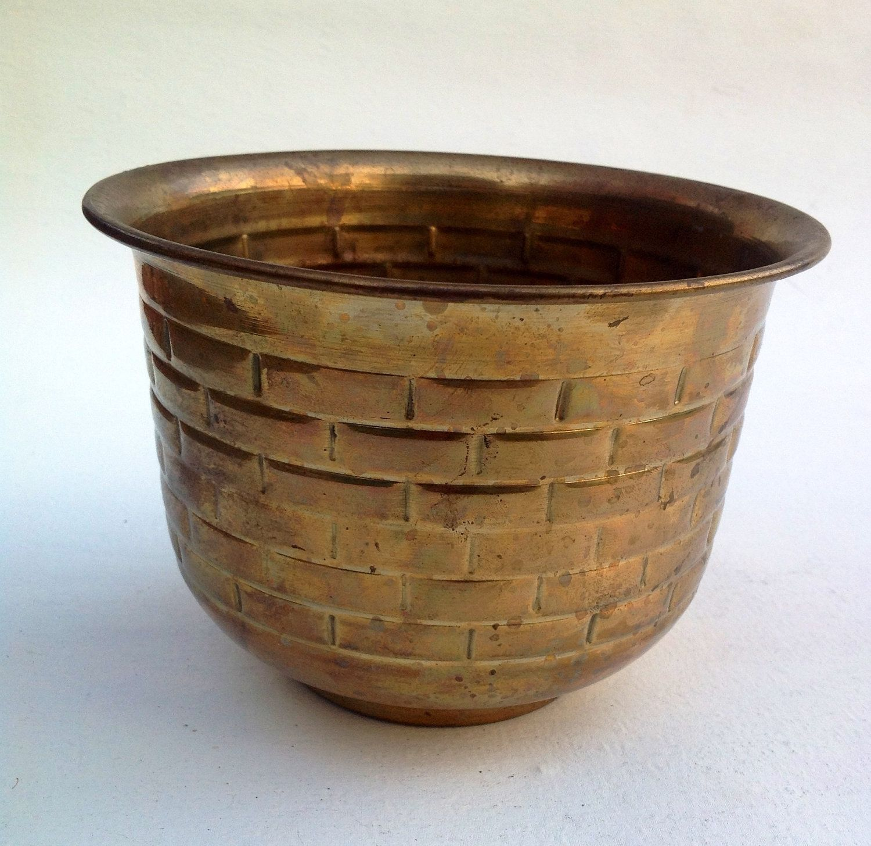 BRASS PLANTER Vintage Indian brass house plant pot. 10