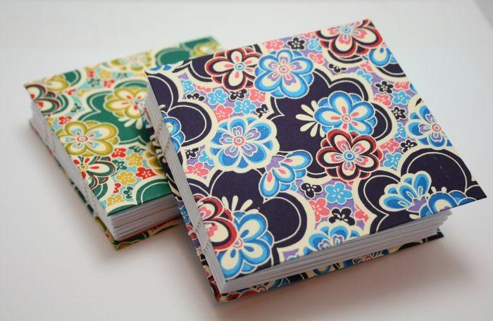 Handmade Washi covered notebooks (coptic binding)