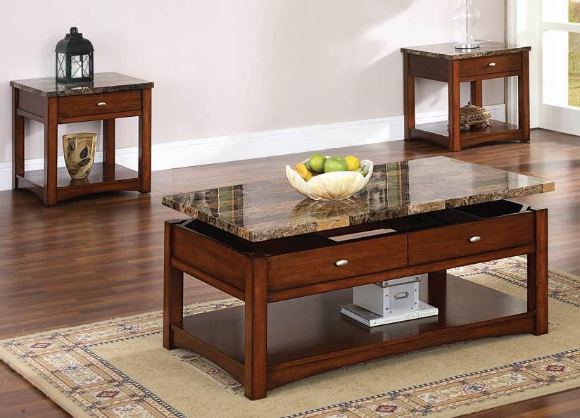 Jas Cherry Faux Marble Lift Top Coffee End Table Set 80020 Set