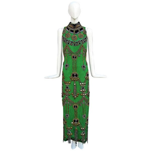 Pre-owned Rare 1990 Versace Atelier Egyptian Style Beaded Gown ($24,500) ❤ liked on Polyvore featuring dresses, gowns, ball gowns, evening dresses, high neck evening dress, short evening dresses, green evening gown, short beaded dress and beaded gown