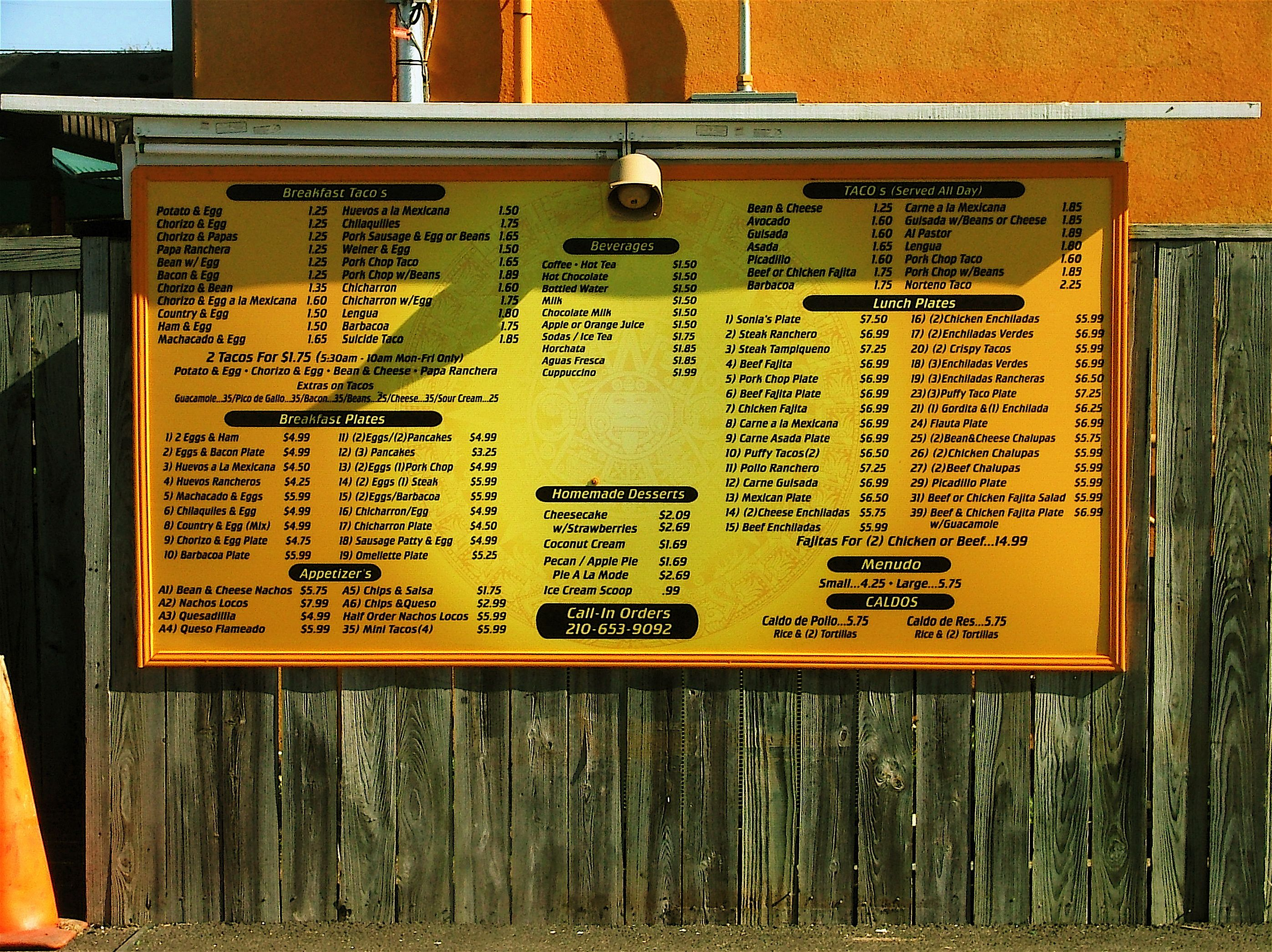 Sonia's Mexican Restaurant Drive Thru Menu. Located on