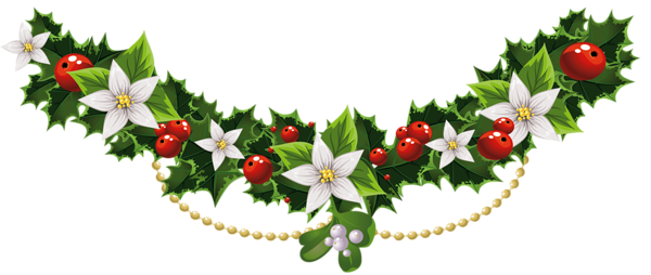 Transparent Christmas Mistletoe Garland with Flowers PNG Clipart ...