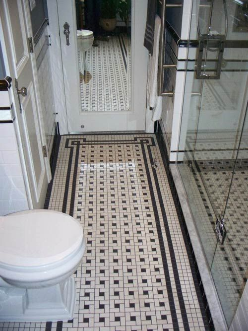 Black And White Bathroom Floor Tile black and white striped 35 Vintage Black And White Bathroom Tile Ideas And Pictures