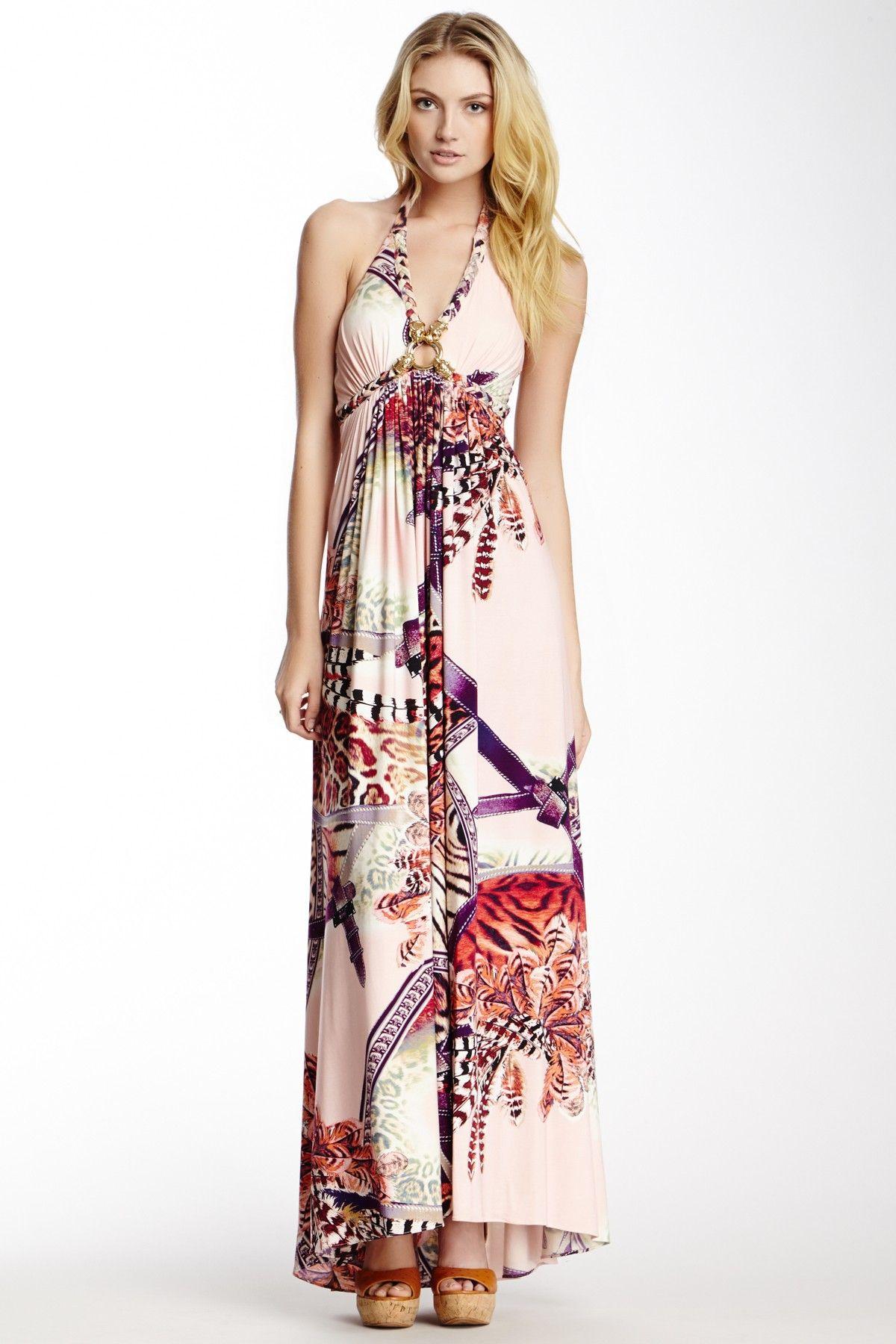 Sky Printed Halter Maxi Dress