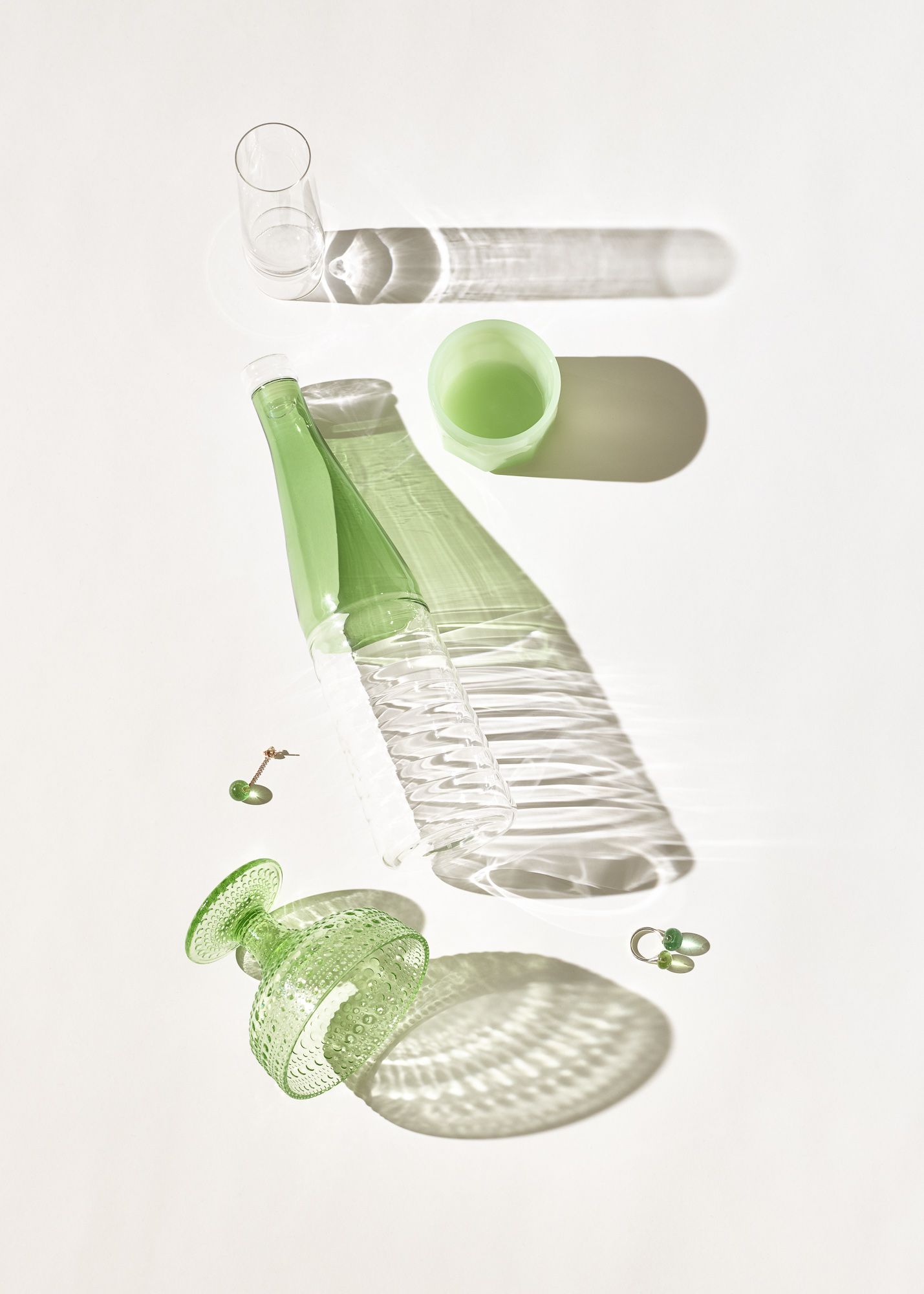 Glass design and shadows photographed for Absoluut magazine / Frederik Vercruysse