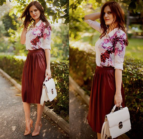 Sheinside Blouse, Zara Skirt, Forever New Bag, Zara Pumps