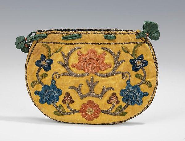 Pouch Date: 1740–70 Culture: Russian Medium: silk, metal, cotton Dimensions: 5 1/2 x 4 in. (14 x 10.2 cm)