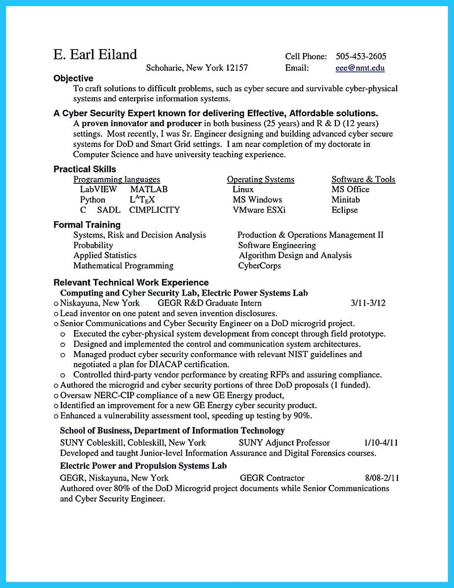 Security Resume Sample Cool Powerful Cyber Security Resume To Get Hired Right Away