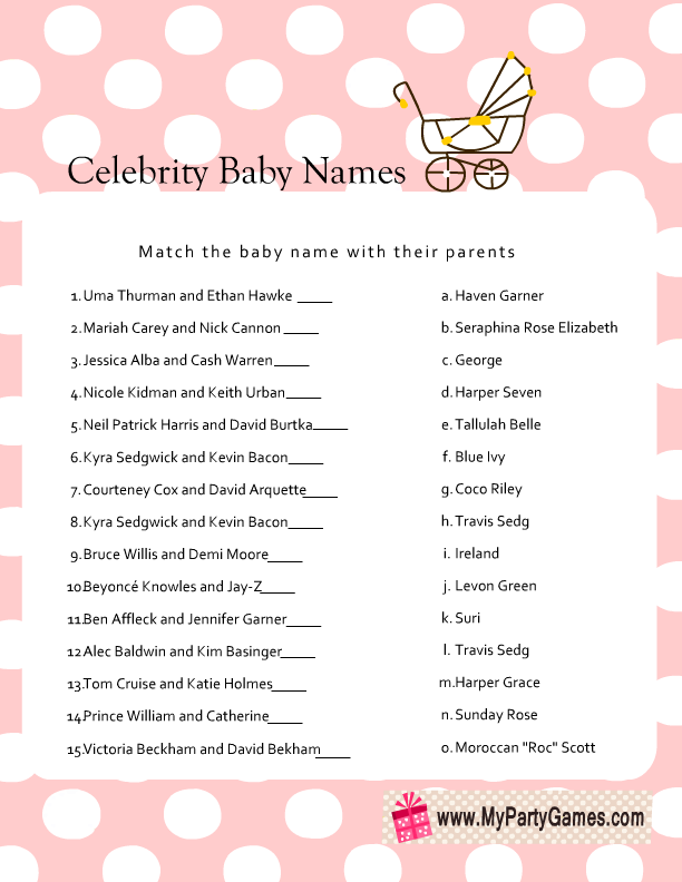 It is an image of Celebrity Baby Name Game Printable with trivia