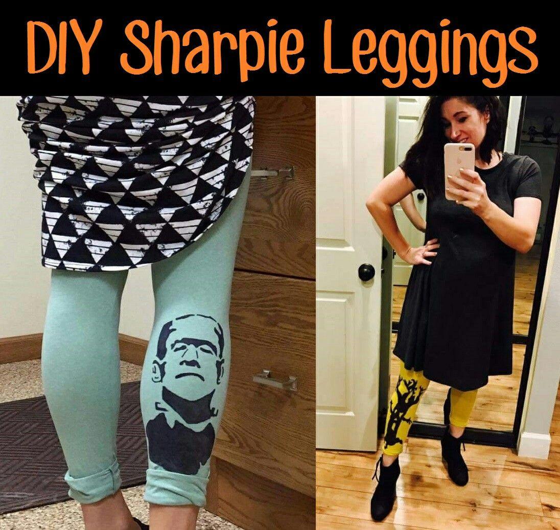 DIY Sharpie Leggings on #Lularoe buttery soft leggings! #DIYsharpie #SharpieCrafts #Crafts