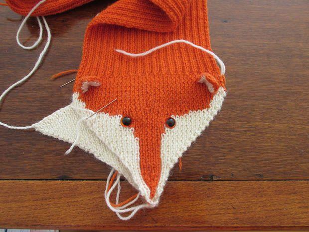 Free Knitted Fox Scarf Pattern Pinterest Fox Scarf Scarf