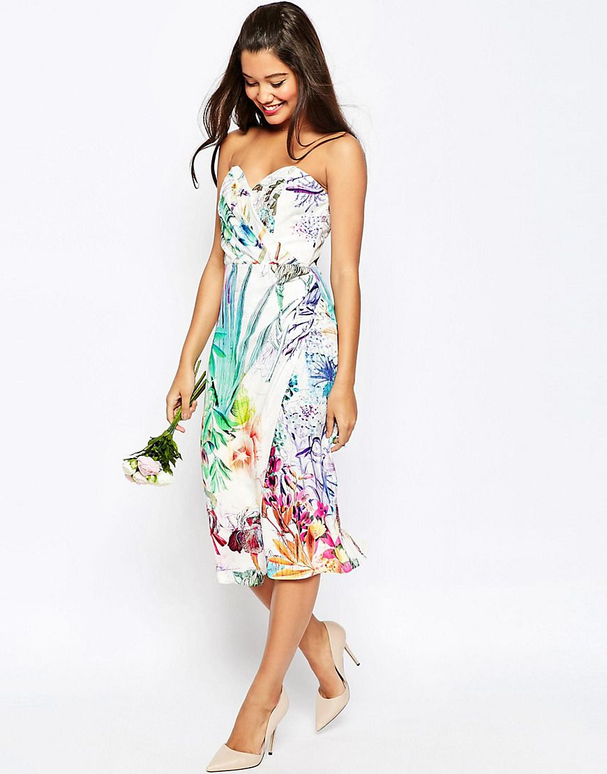 Floral print wedding dresses  ASOSWEDDINGBandeauMidiPencilDressWithCropJacketInFloral
