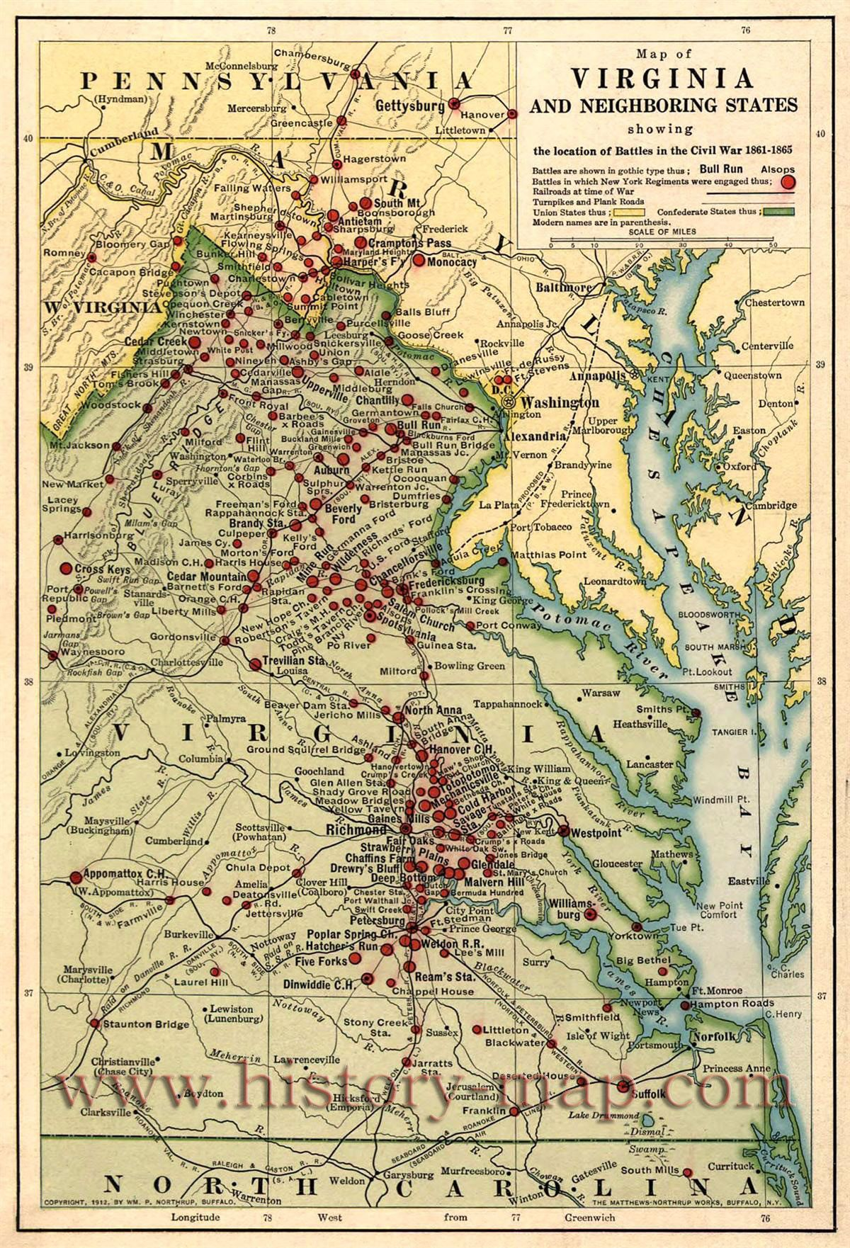 Map Of Eastern Virginia And Parts Of North Carolina Maryland West Virginia And Pennsylvania