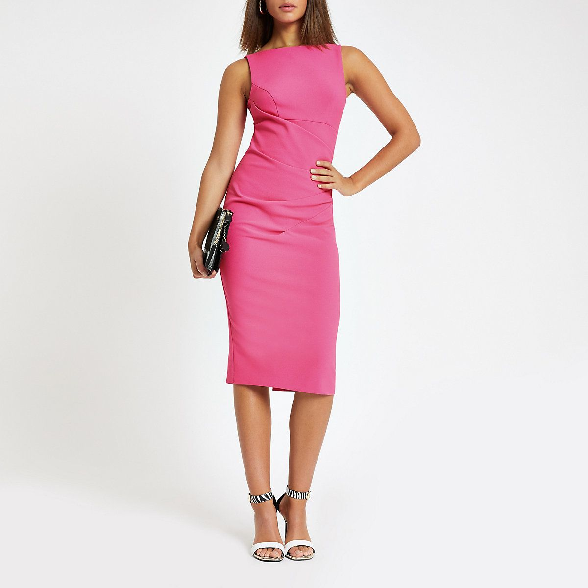 Pin By Smart Casual Women Clothes A On Smart Casual To Buy River Island Fall Winter 2020 Pink Bodycon Midi Dress Bright Pink Midi Dress Bright Pink Dresses