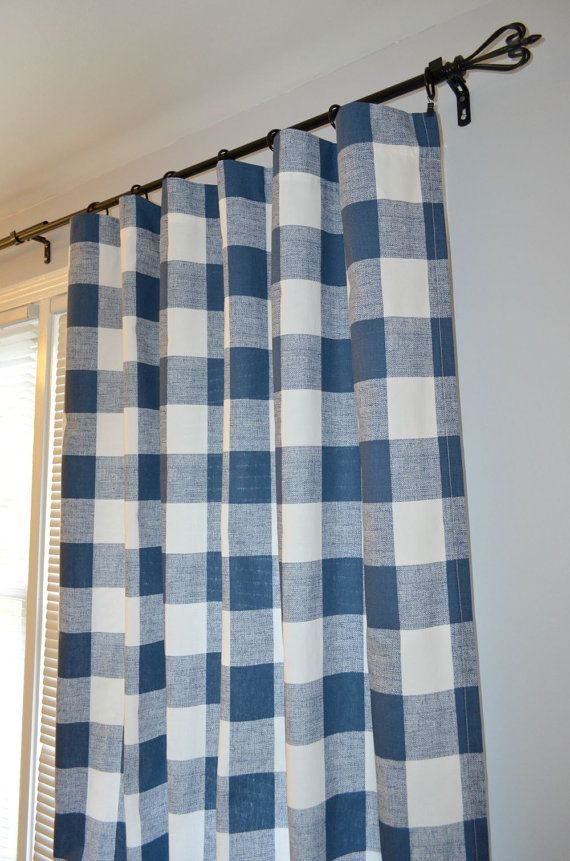 Pair Of Premier Navy Buffalo Check Curtain By Beeyourselfdesigns