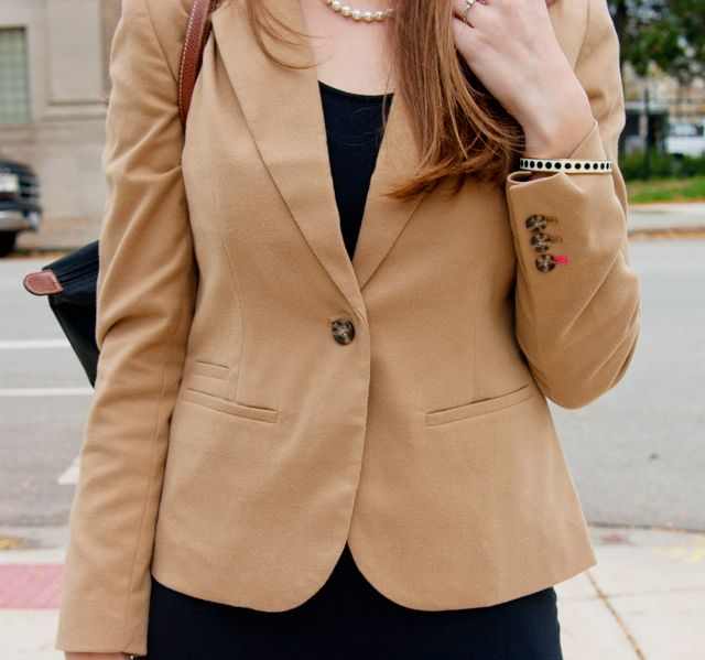 Day to Night: Forever 21 Open Back Dress, Camel Blazer, Le Pliage