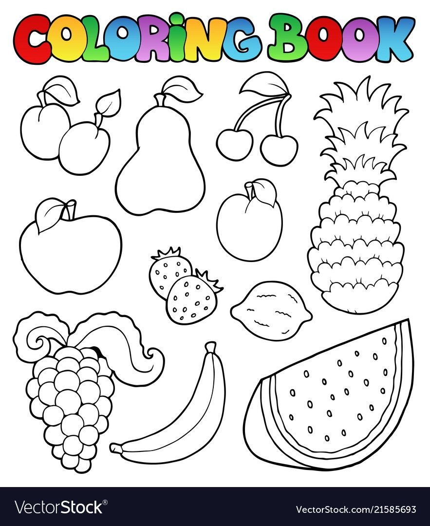 Coloring Book With Fruits Images Vector Image On Vectorstock Fruit Coloring Pages Vegetable Coloring Pages Fruits For Kids