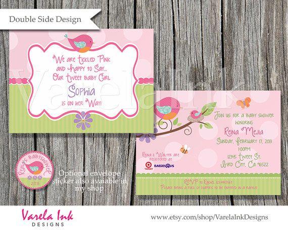 Tweet Baby Shower Invitation By Varelainkdesigns On Etsy Baby Girl