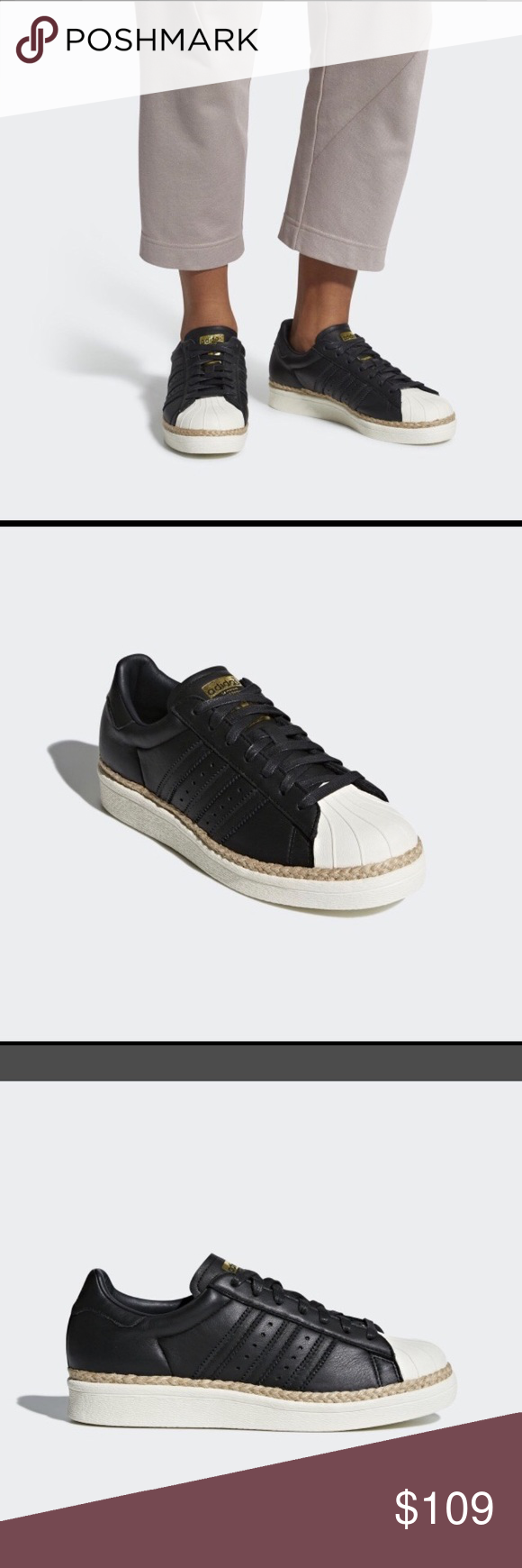 2332e396b46 Adidas 80 s Superstars Shell Toe Sneakers Adidas 80 s Superstars Shell Toe  Sneakers Size 8 Black leather upper with a jute rope detailing adidas Shoes  ...