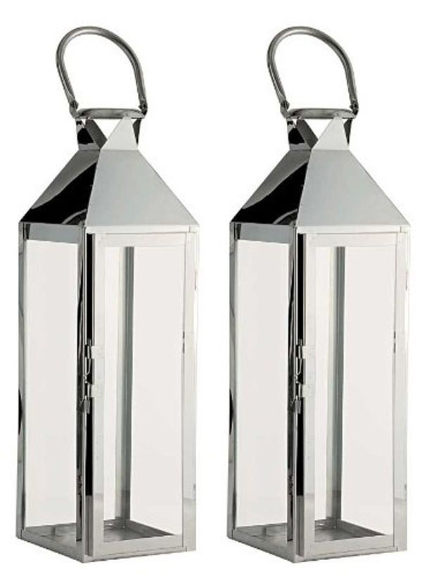 2 X Stylish Stainless Steel Glass Hampton Candle Lanterns For Home Garden In Home