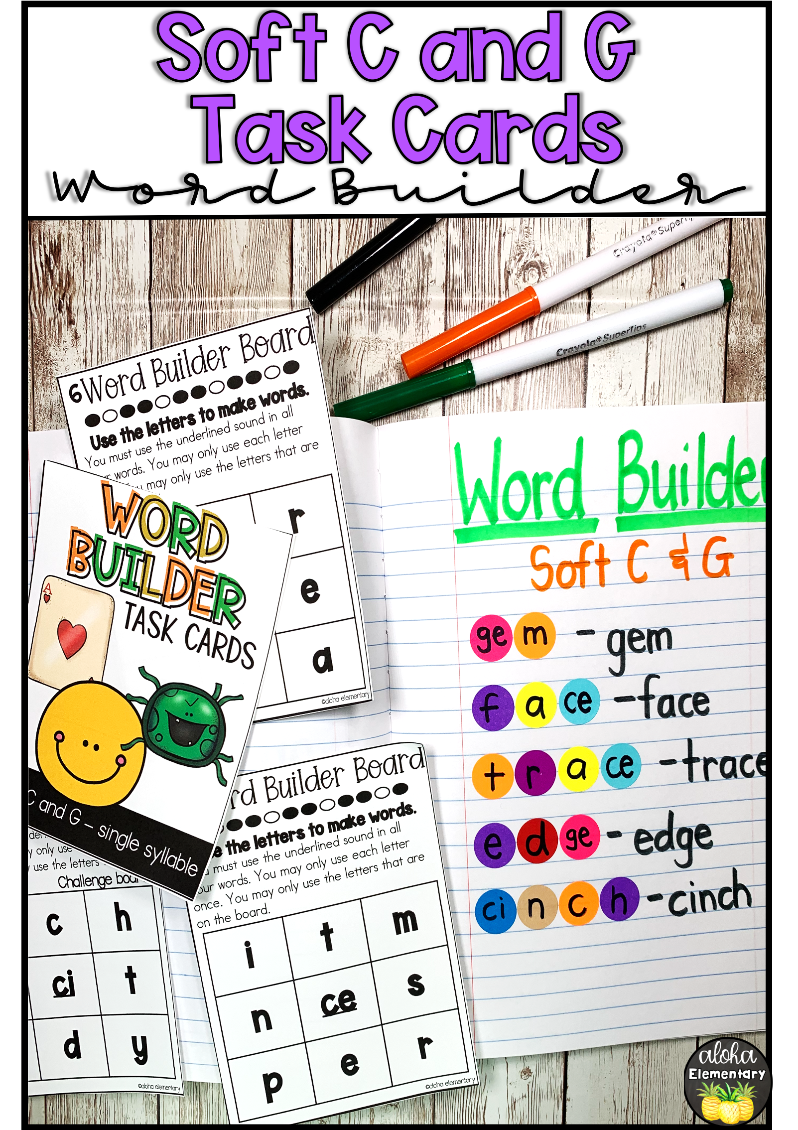 Soft C Amp G Single Syllable Word Building Task Cards In