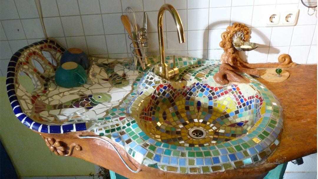 Badezimmergestaltung aus Fliesenbruch - Mosaik - Hľadať ...