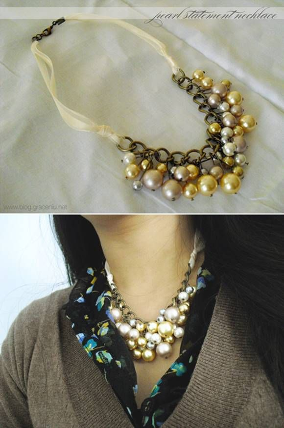 6eb47cac81ee Pearl Statement Necklace Tutorial  craft  fashion  jewelry  necklace