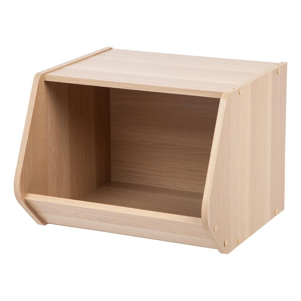 IRIS Modular Light Brown Wood Stacking Open Storage Box Stacking Bins,  Storage Shelves, Storage